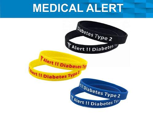 3 PC MEDICAL ALERT WRISTBAND DIABETES TYPE 2