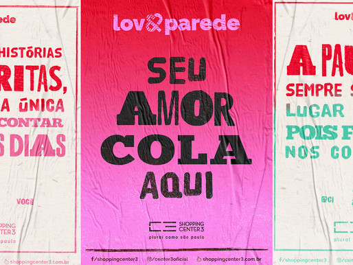 """Shopping Center 3 estampa o amor em uma """"Love Parede"""""""