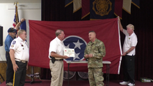194th Army National Guard Engineer Brigade presents Sheriff Mehr with state flag