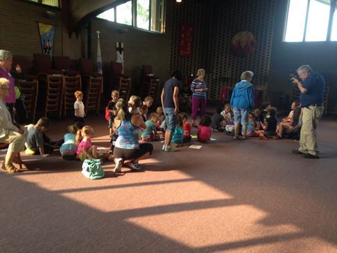 VBS - gathering in the sanctuary