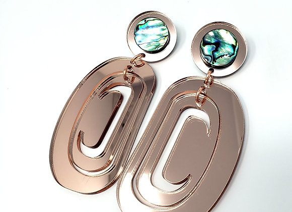 Rose-gold Crescent Ovoids with Abalone Posts