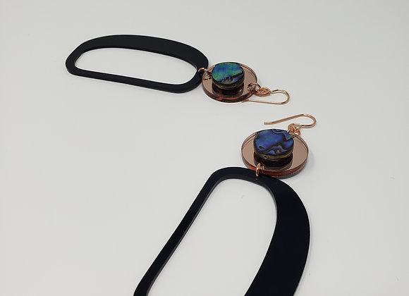 Rose-gold Circles on Ovoids w/Hooks