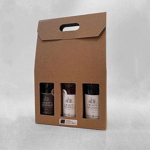 Geschenkdoos geribbeld karton voor 3 flessen