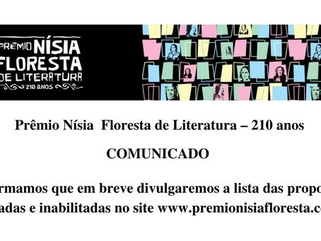Prêmio Nísia Floresta de Literatura - 210 anos - COMUNICADO
