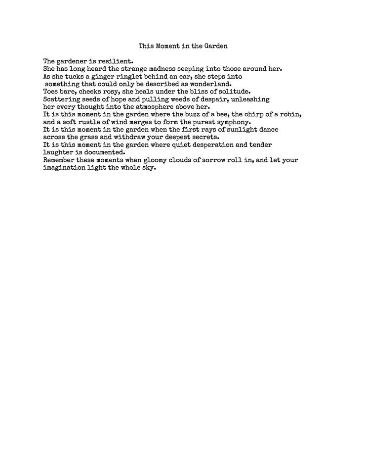 Garden Poem by Juniper Collins