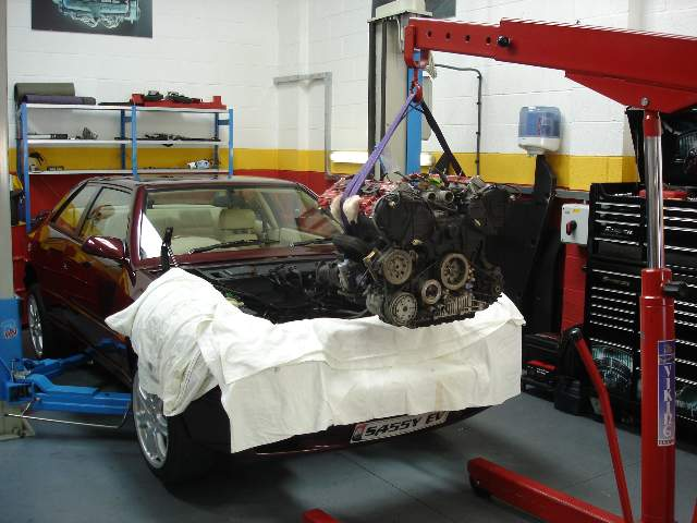 Engine being re-fitted