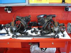 The suspension being rebuilt