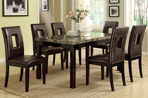 F1051 Dark Brown 7Pc Dining Set