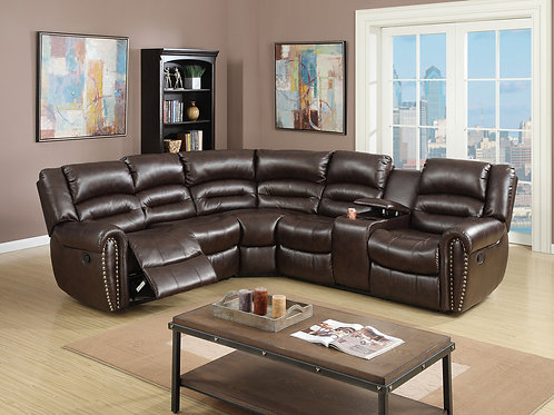 F6744 3Pc Brown Reclining Sectional