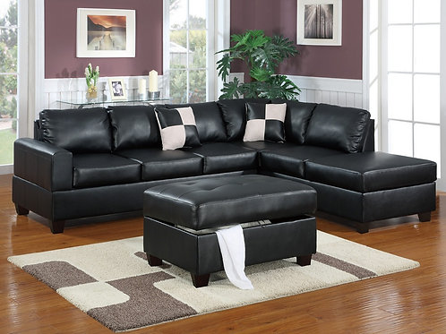 F7355 3Pcs Sectional Black