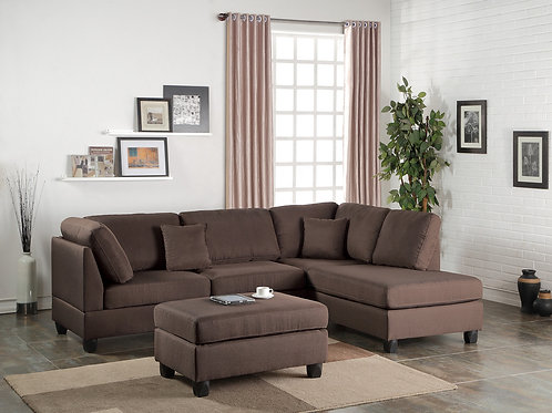 F7608 3Pcs Sectional Chocolate