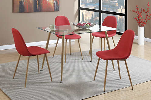 F2457 Red 5Pc Dining Set