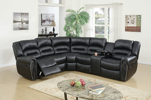 F6743 3Pc Black Reclining Sectional