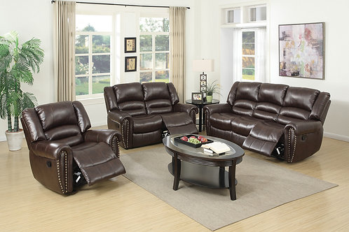 F6753 3Pc Brown Reclining Set