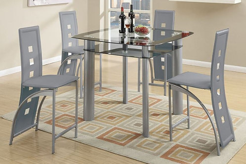 F2224 5Pc CH Grey Dining Set