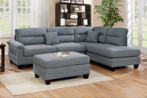 F6585 3Pcs Sectional Grey