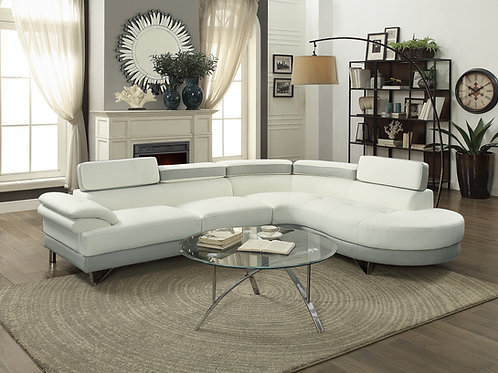 F6967 2Pc Sectional White + Light Grey