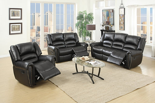 F6749 3Pc Black Reclining Set