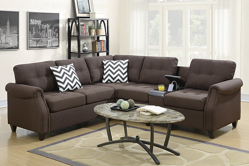 F6596 2Pcs Sectional Dark Coffee
