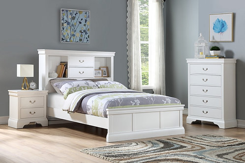 F9422 4Pc White Twin Bed