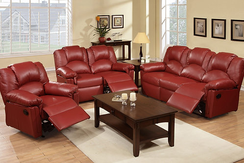 3Pc Burgundy Reclining Set