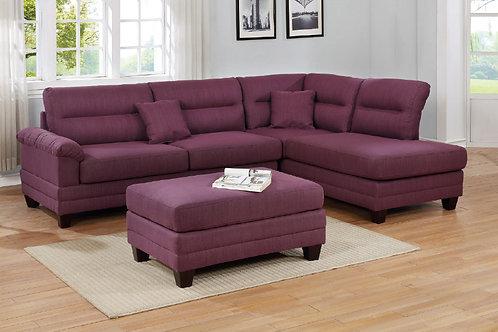 F6587 3Pcs Sectional Warm Purple