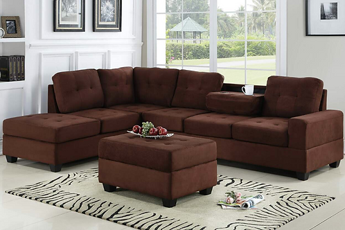 Heights-Chocolate Sectional + Storage Ottoman