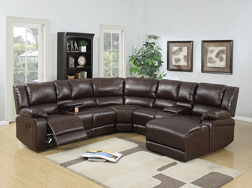 F6746 5Pc Brown Reclining Sectional