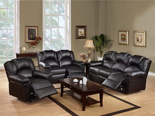 3Pc Black Reclining Set