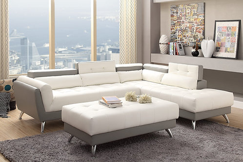 F6979 2Pcs Sectional White+Light Grey