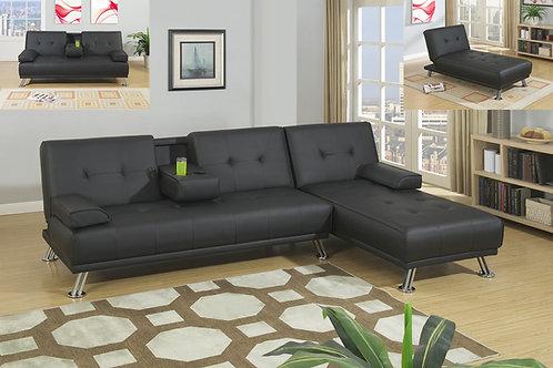 F7842/43 Black Adjustable Sofa & Adjustable Chaise