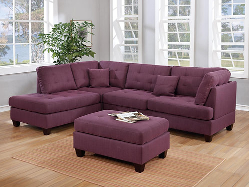 F6583 3Pcs Sectional Warm Purple