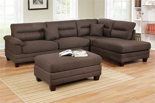 F6586 3Pcs Sectional Black Coffee