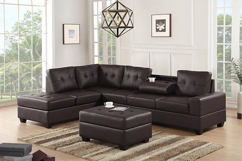 Heights-Espresso Sectional + Storage Ottoman