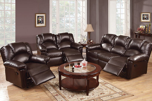 3Pc Espresso Reclining Set
