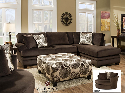 Albany 8642 Sectional Chocolate
