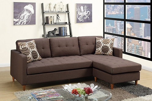 F7086 2Pc Chocolate Sectional w/2 Pillows
