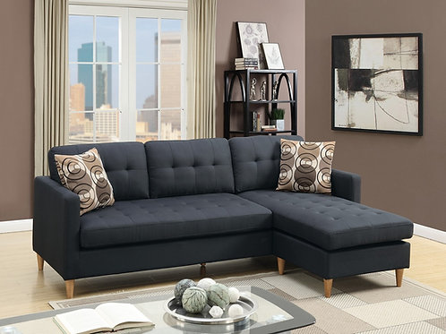 F7084 2Pc Black Sectional w/2 Pillows
