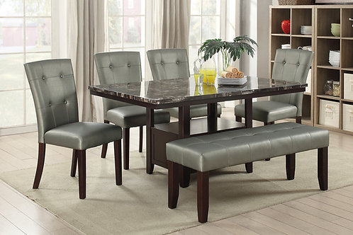 F2460 Silver 6Pc Dining Set