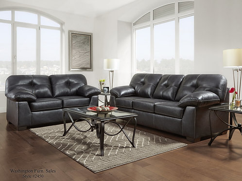2450 Nevada Black Sofa & Loveseat