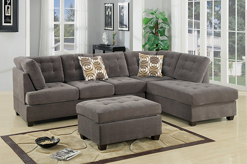 F7139 2Pc Sectional Sofa w/2 Pillows