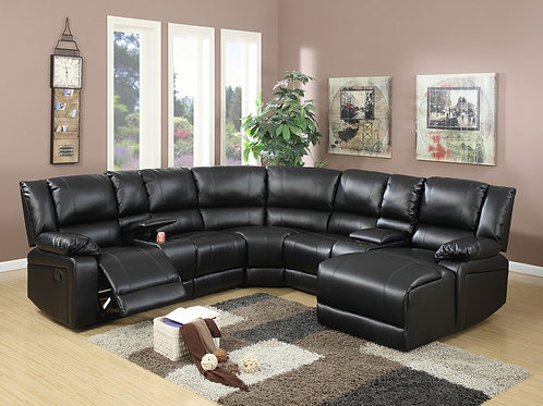 F6745 5Pc Black Reclining Sectional
