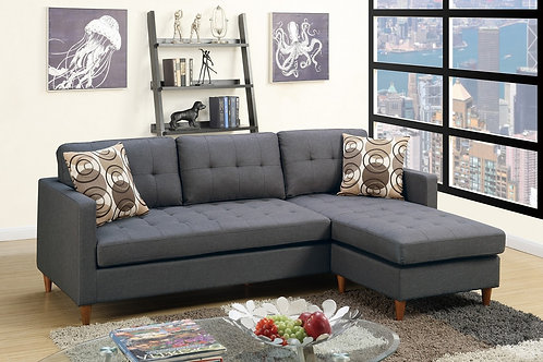 F7094 2Pc Blue Grey Sectional w/2 Pillows