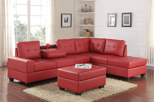 Heights-Red Sectional + Storage Ottoman