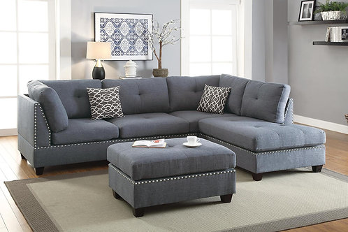 F6975 3Pcs Sectional Blue Grey