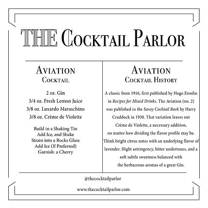 Aviation Cocktail Candle Card