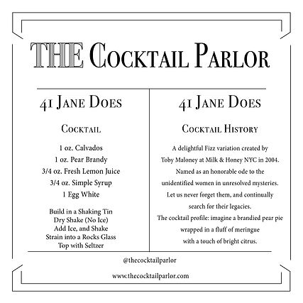 41 Jane Does Cocktail Candle Card