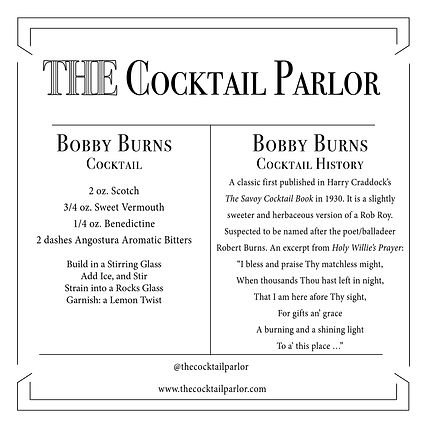Bobby Burns Cocktail Candle Card