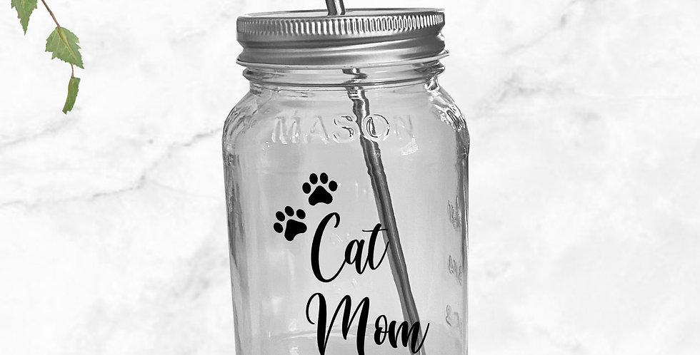 Cat Mom Mason Jar Tumbler