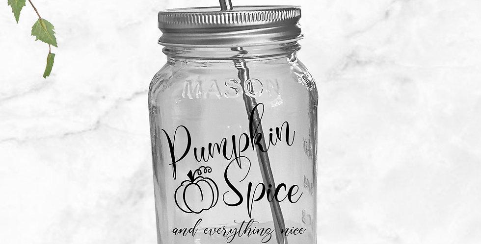 Pumpkin Spice Mason Jar Tumbler